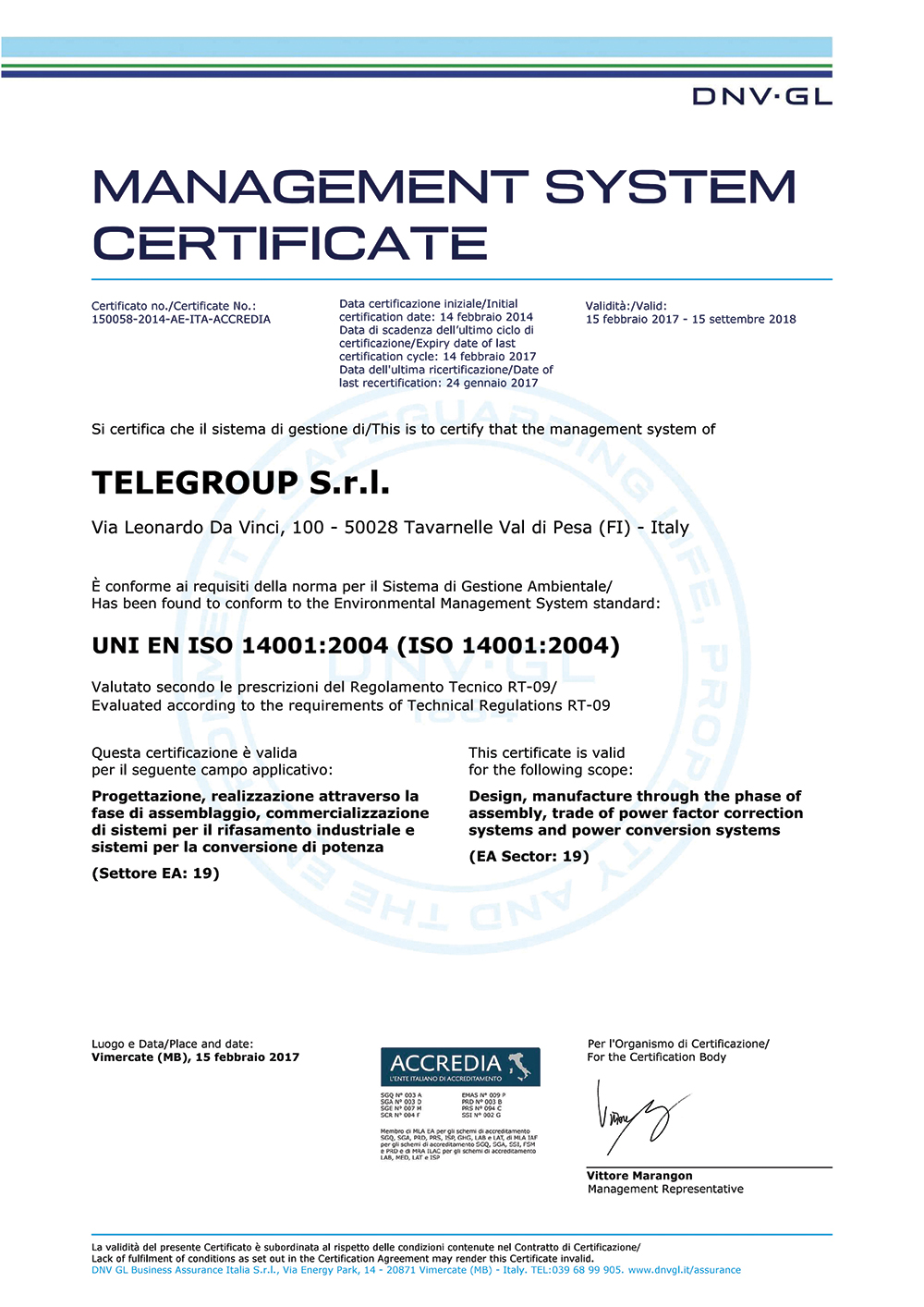 Telegroup Iso Ohsas Sa Certified Company Florence Italy